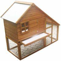 Bc-elec - 5663-0553 Jaula para conejos, cobertizo de madera con puerta y cajón, 136 x 118 x 61cm - Marrón