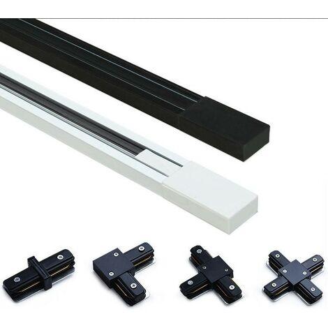 Carril electrificado monofásico de superficie para focos LED - barra 2 metros   Aluminio Plata