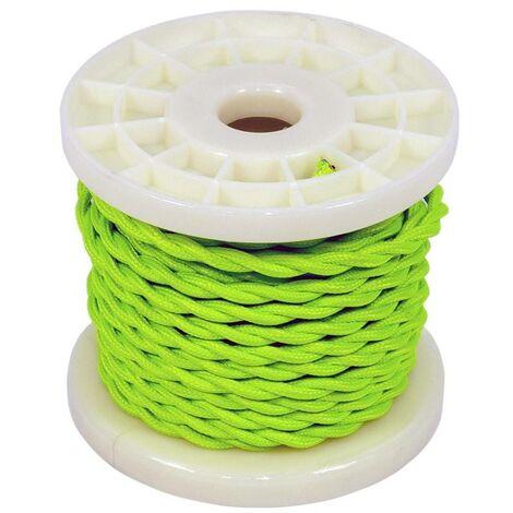 Cable eléctrico decorativo trenzado textil 2x0,75 verde brote   10 metros