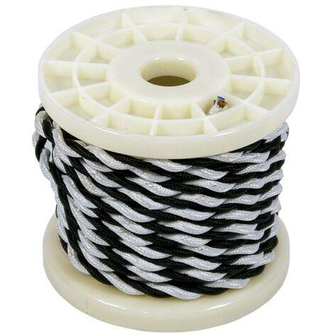Cable eléctrico decorativo trenzado textil 2x0,75 blanco y negro   10 metros