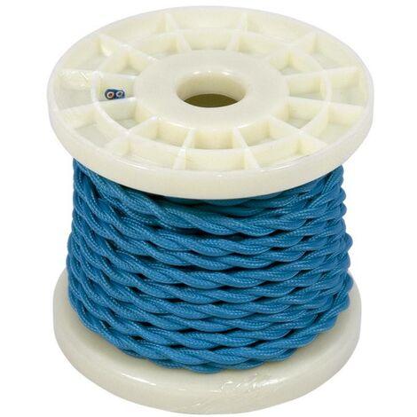 Cable eléctrico decorativo trenzado textil 2x0.75 azul   10 metros