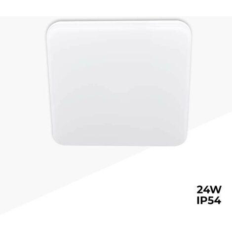 Plafón LED cuadrado de superficie 2640LM 24W IP54 estanco | Blanco Cálido