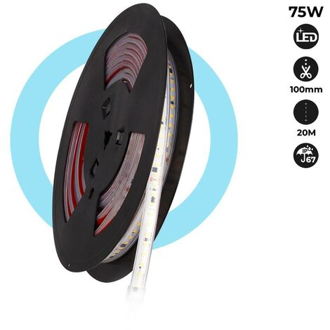 Tira LED 220V 75W (600xSMD2835) 12mm IP67 Rollo 5 metros   Blanco frío 6500K