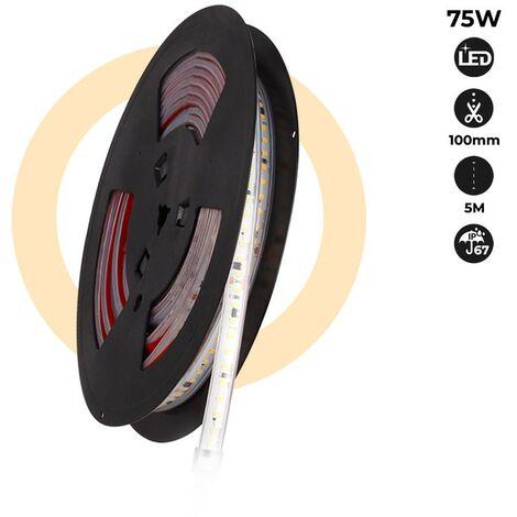 Tira LED 220V 75W (600xSMD2835) 12mm IP67 Rollo 5 metros | Blanco neutro 4000K