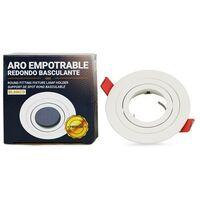 Aro downlight circular basculante PREMIUM para bombilla LED GU10   Blanco