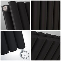 Radiador de Diseño Eléctrico Vertical Doble - Negro - 1780mm x 236mm x 78mm - Revive
