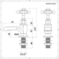 Hudson Reed Elizabeth - Par de Grifos Tradicionales para Lavabo con Manijas en Cruz - Oro Cepillado