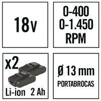 Taladro/atornillador bateria litio RATIO AR18-2PNM.