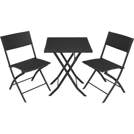 Salon de jardin TREVI Résine tressée 2 Personnes, 2 Chaises et 1 Table pliantes Noir
