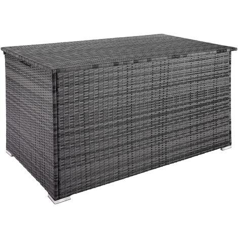 Coffre de Jardin de Rangement extérieur 750 L en Résine tressée et Aluminium Gris