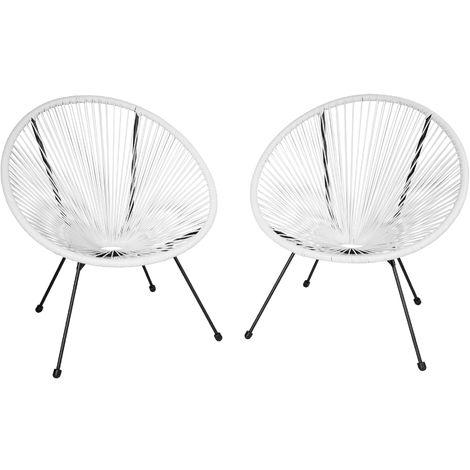2 Fauteuils Acapulco de Jardin de Salon Design rétro Cadre en Acier Blanc