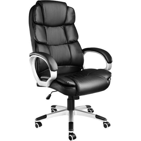 Fauteuil de Bureau design pivotant ergonomique Dossier rembourré Hauteur d'assise réglable 47 cm à 55 cm Noir