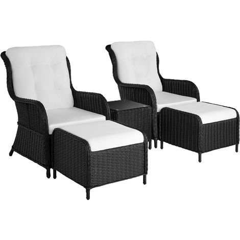 Salon de jardin BENISSA - mobilier de jardin, meuble de jardin, ensemble table et chaises de jardin - noir