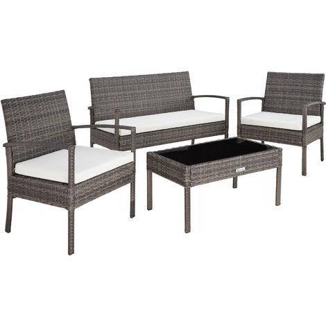 Salon de jardin SPARTE 4 places - mobilier de jardin, meuble de jardin, ensemble table et chaises de jardin - gris