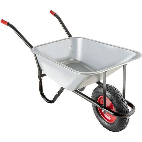 Brouette OSKAR - Chariot de jardin, chariot d'extérieur, chariot de transport - argent