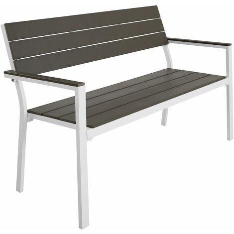 Banc de jardin LINE - meuble de jardin, banc de jardin extérieur, banc extérieur - gris clair/blanc