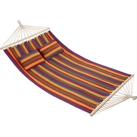 Hamac double EDEN - hamac de jardin, hamac d'extérieur, hamac suspendu - avec des rayures colorées