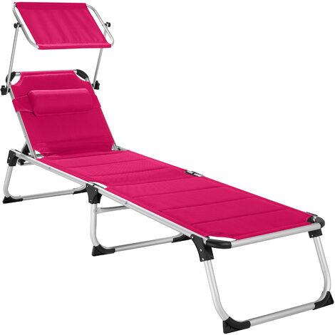 Transat LORELLA - chaise longue de jardin, bain de soleil, transat de plage - rose vif