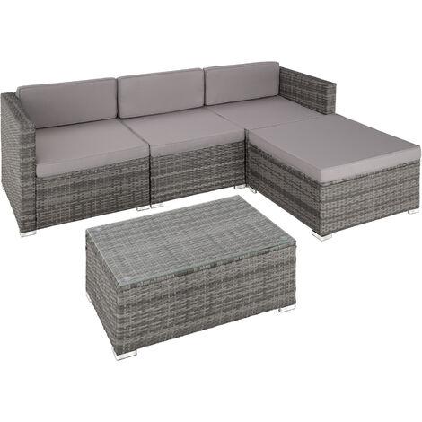Canapé de jardin FLORENCE 4 places, version 2 - table de jardin, mobilier de jardin, fauteuil de jardin - gris