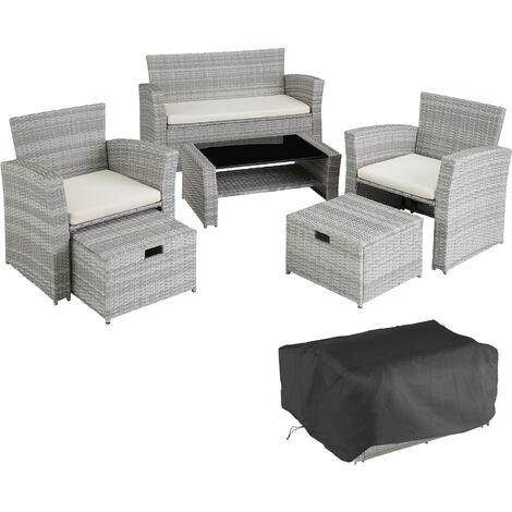 Salon de jardin MODENE 4 places avec housse de protection - table de jardin, mobilier de jardin, salon jardin - gris clair