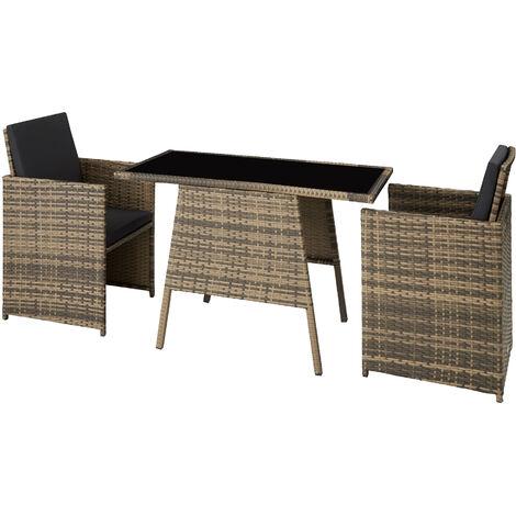 Salon de jardin LAUSANNE 2 places - mobilier de jardin, meuble de jardin, ensemble table et chaises de jardin - marron naturel