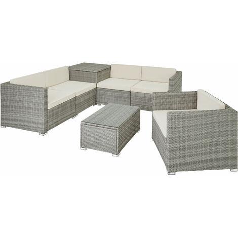 Canapé de jardin PISE 5 places avec coffre de rangement, variante 2 - table de jardin, mobilier de jardin, fauteuil de jardin - gris clair
