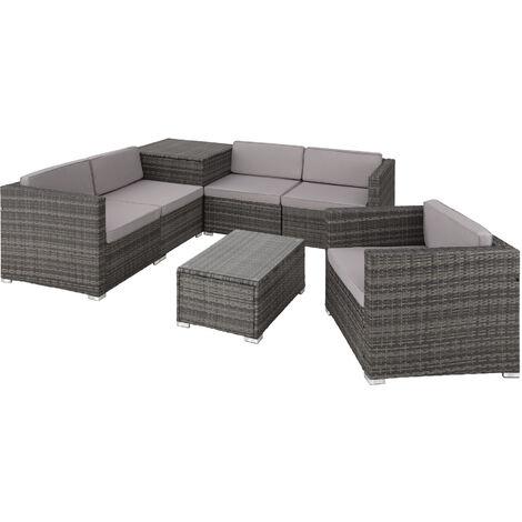 Canapé de jardin PISE 5 places avec coffre de rangement, variante 2 - table de jardin, mobilier de jardin, fauteuil de jardin - gris