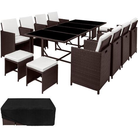 Salon de jardin PALMA 12 places avec housse de protection, variante 2 - mobilier de jardin, meuble de jardin, ensemble table et chaises de jardin - marron marbré