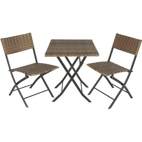 Salon de jardin TREVI 2 personnes - mobilier de jardin, meuble de jardin, ensemble table et chaises de jardin - marron naturel