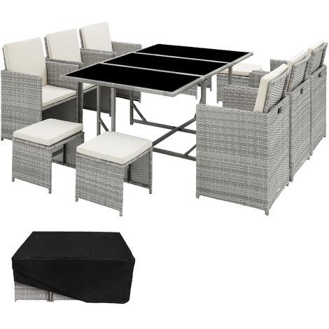 Salon de jardin MALAGA 10 places avec housse de protection - mobilier de jardin, meuble de jardin, ensemble table et chaises de jardin - gris clair