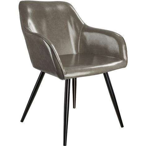 Chaise cuir synthétique MARILYN - Chaise, chaise de salle à manger, chaise de salon - gris foncé-noir