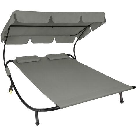 Transat 2 places - chaise longue, transat bain de soleil, transat jardin - gris