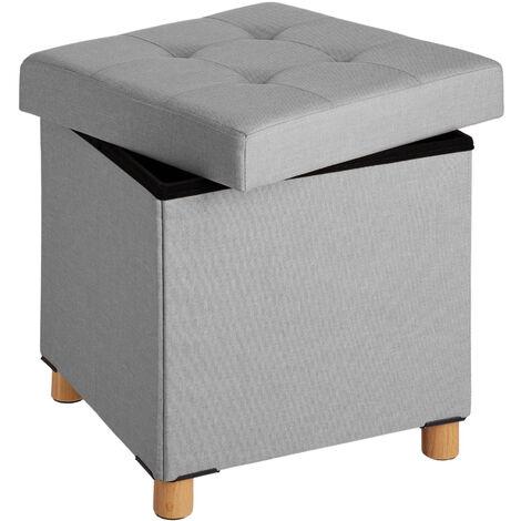 Pouf coffre de rangement pliable ALEA - tabouret tissu, tabouret bas, tabouret scandinave - gris clair