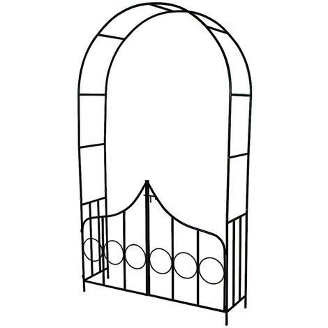 Arche de jardin pour Plantes Grimpantes et Rosiers 240 cm - 2 Portes - en Acier Vert foncé