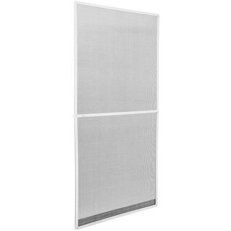 Moustiquaire pour porte cadre en aluminium ajustable 95 cm x 210 cm Blanc