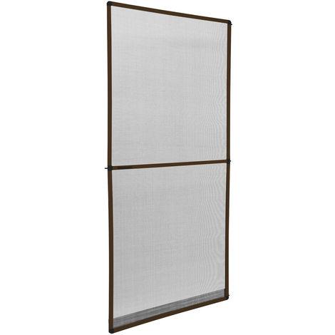 Moustiquaire pour porte cadre en aluminium ajustable 95 cm x 210 cm Marron