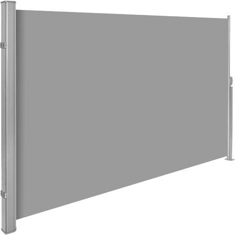 Brise Vue Rétractable de Balcon Jardin Terrasse Occultant en PVC et Aluminium 3 m x 1,6 m Gris
