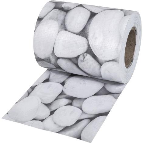 Brise Vue, Brise Vent, Film Anti Regards PVC en Rouleau de 70 m x 19 cm pour Clôture + Fixations Imprimé Galets Blancs