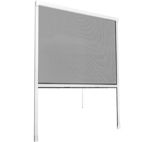 Moustiquaire de Fenêtre enroulable et ajustable en Aluminium 90 cm x 5 cm x 160 cm Gris