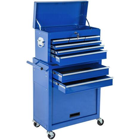 Servante d'Atelier + Caisse à Outils 69 cm x 33 cm x 110 cm Bleu