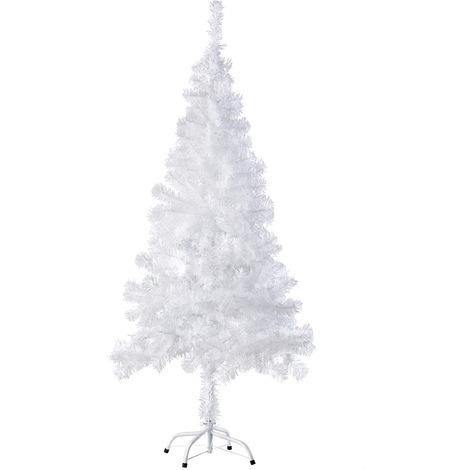 Sapin Artificiel de Noël 150 cm 310 Branches en PVC Blanc