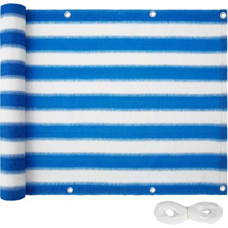 Brise Vue Balcon Jardin Terrasse en Plastique 6 m x 0,75 m Blanc Bleu à Rayures