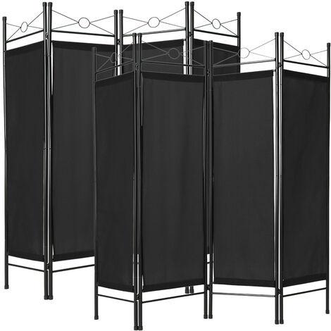 Paravent Séparation de pièces Cloison amovible 4 Pans Pliables Toile Polyester 180 cm x 160 cm x 2,5 cm Noir X2