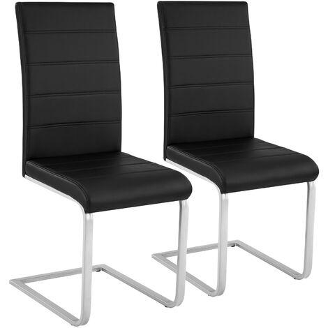2 Chaises de Salle à Manger Rembourrées Design Moderne Pieds en métal Noir