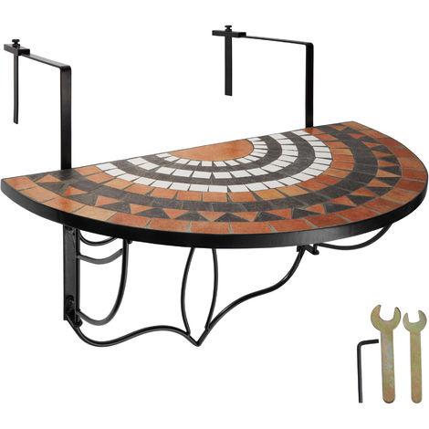 Table de Jardin, Table de Balcon Pliante Suspendue en Mosaïque 76 cm x 65 cm x 57,5 cm Blanc Marron