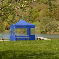 Tonnelle de Jardin Terrasse Pliante Autoportée Réglable 3 x 3 m Structure en Aluminium à 4 Parois Bleu + Sac de Transport