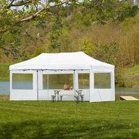 Tonnelle de Jardin Terrasse Pliante Autoportée Réglable 6 x 3 m Structure en Aluminium à 4 Parois Blanc + Sac de Transport