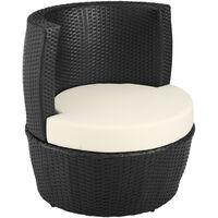 Salon de Jardin NICE Encastrable 2 Personnes en Résine Tressée Cadre en Aluminium 2 Fauteuils 1 Table 1 Pot de fleurs Noir