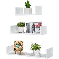 Lot de 3 Etagères Murales Design avec Rebord 3 tailles différentes en Bois Blanc