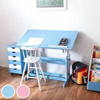 Ensemble Bureau Réglable en Hauteur et Inclinable Enfant et Caisson à Roulettes de Bureau 6 Tiroirs Blanc et Bleu